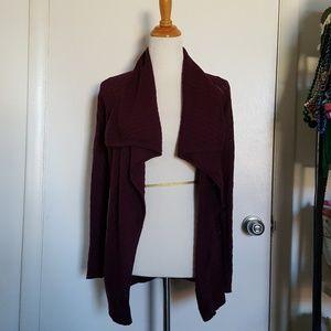 Tahari Long Sleeve Red Plum Cardigan Size XS